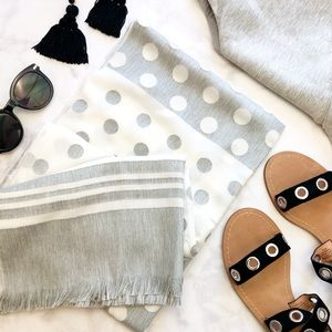 Gray and White Polka Dot Scarf